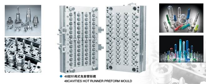 48 Cavities PET Preform Molds with Shut-Off Nozzle